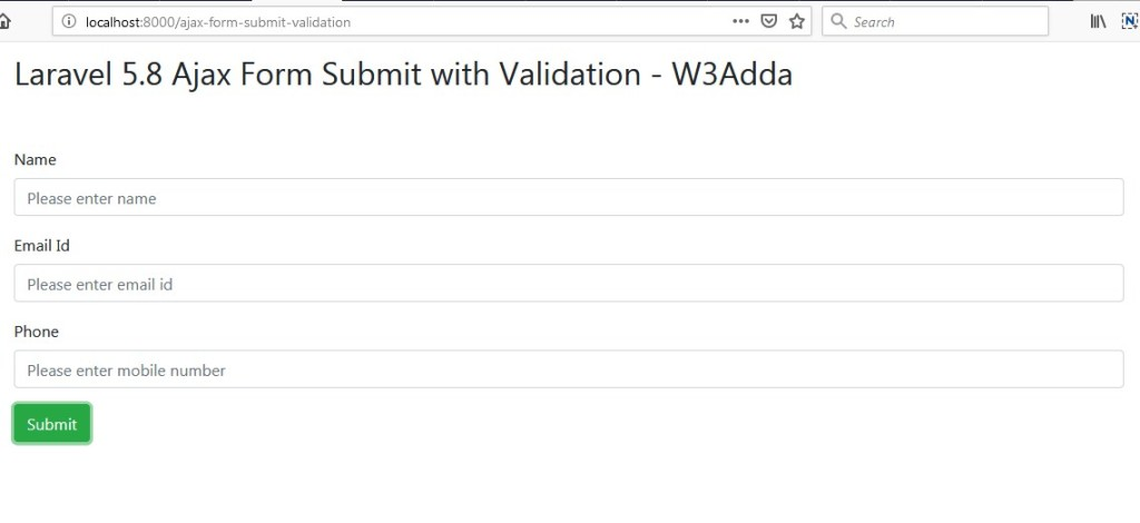 Laravel 5 8 Ajax Form Submit With Validation | W3Schools