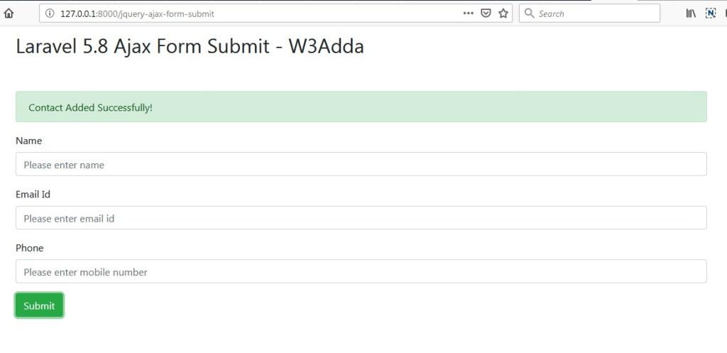 Laravel 5 8 jQuery Ajax Form Submit | W3Schools | Tutorialspoint