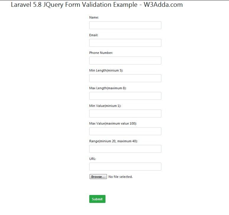 Laravel 5 8 jQuery Form Validation   W3Schools
